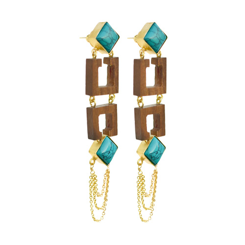 Dual square earring-Turquoise