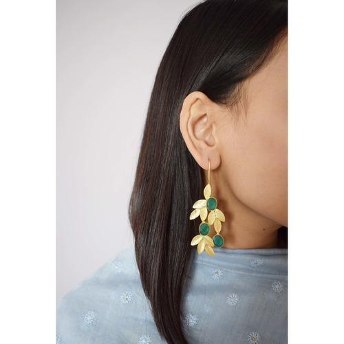 Leafy Earring- Green Onyx
