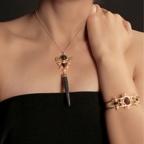 Sphinx Necklace- Black Copper Pencil