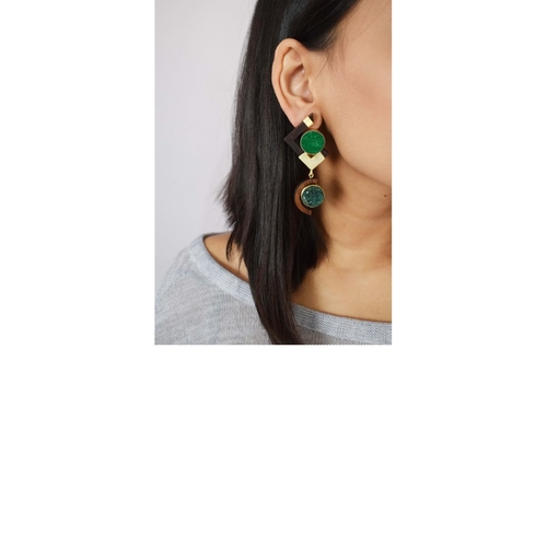 Dissected Earring- Green
