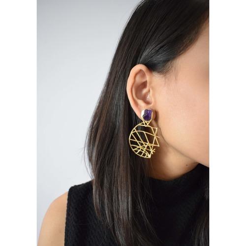 Mesh Earring - Amethyst