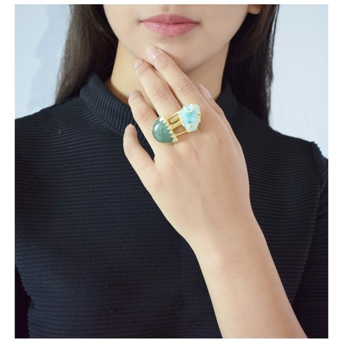 Teal Agate Ring
