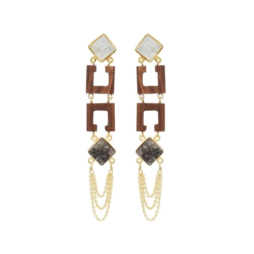 Dual Square Earring - Mother of Pearl and Black