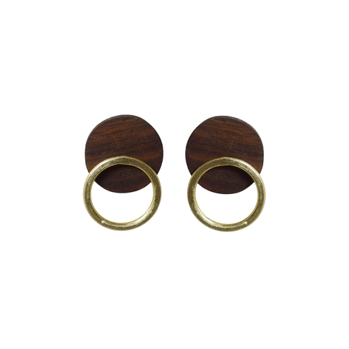 Wood and metal ring stud