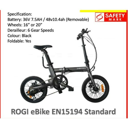 ROGI foldable ebike LTA APPROVED PAB w 6 gears