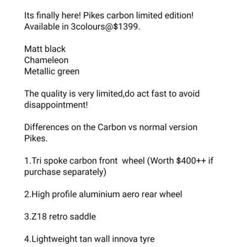 Pikes carbon limited edition