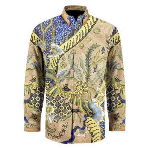 Hand Drawn Batik Long Sleeve Shirts  L size