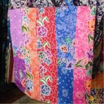 batik patched work tote bag
