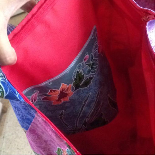 batik patched work tote bag