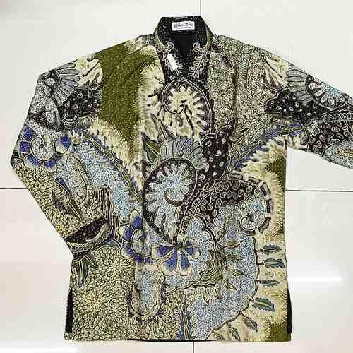 Hand Woven Silk, Hand Drawn Batik Shirt ( M size )