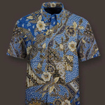 short sleeve woven silk, hand drawn batik shirt