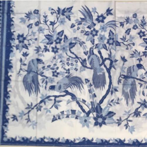 Blue white hand drawn batik fabrics