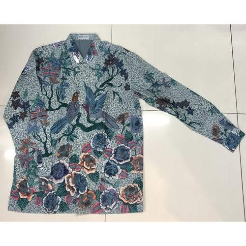 Hand Drawn Batik Long Sleeve Shirt XXL size