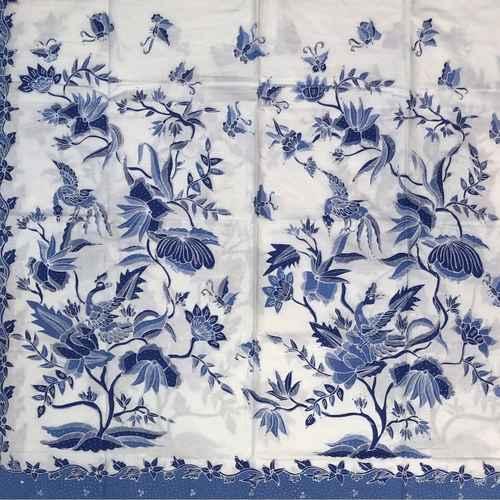 Blue white hand drawn batik fabrics