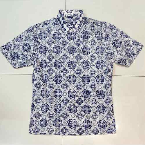 Hand stamped batik shirt  short sleeves