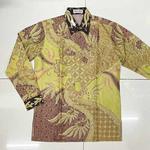 Hand Woven Silk, Hand Drawn Batik Shirt  M size