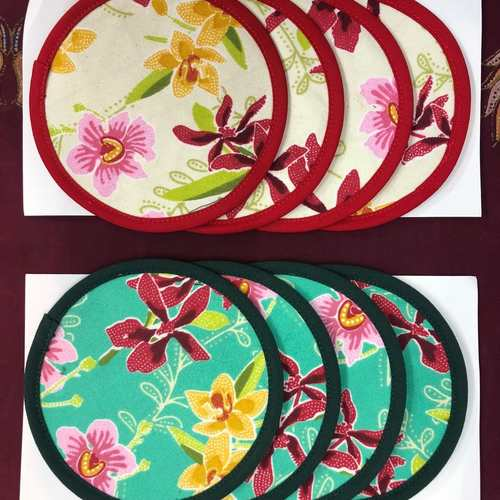 Coasters Set ( 4pcs ), orchid motif