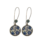 25 mm LOOP EARRINGS  with ceramic bead - Kashida Blue