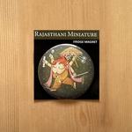FRIDGE MAGNETS ROUND - Rajasthani  Miniature Ganesha Green