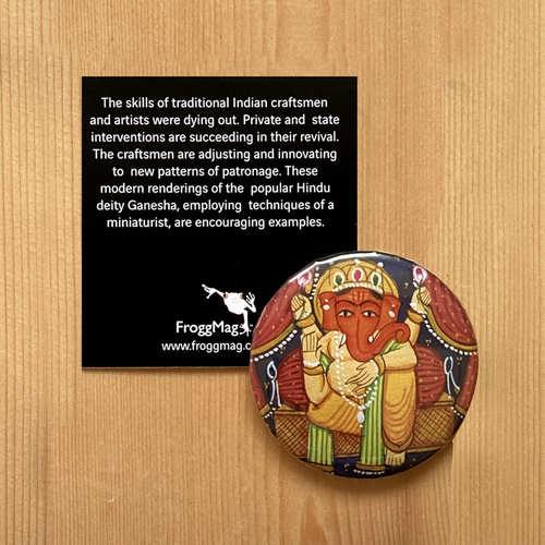 FRIDGE MAGNETS ROUND - Rajathani Miniature Ganesha Red