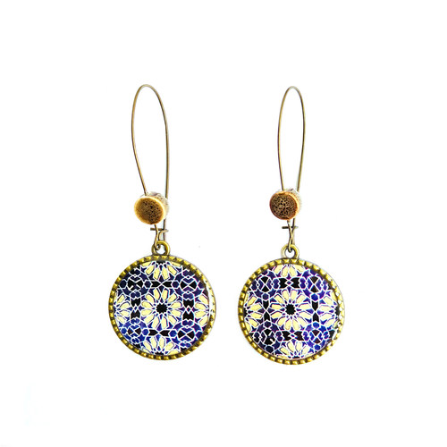 25 mm LOOP EARRINGS  with ceramic bead - Ajrakh