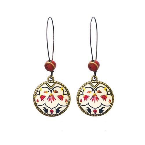 25 mm LOOP EARRINGS  with ceramic bead - Pietra Dura, Taj Mahal
