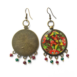 Earrings with semiprecious stones - Papeir Mache detail, Kashmir