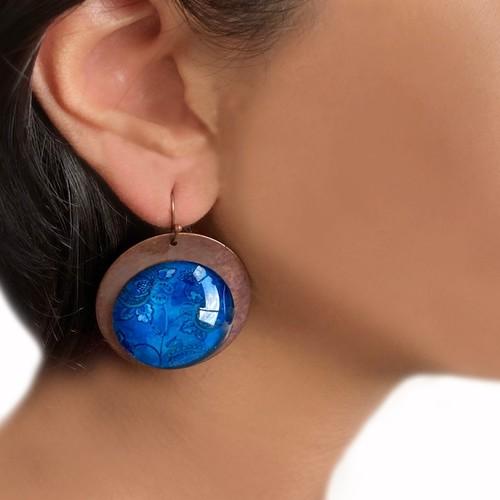 Earrings - Mughal Blue Flowers