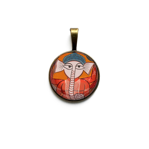 Art Pendant - Kalighat Pat Ganesh