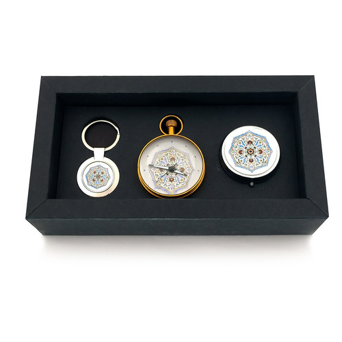 GIFT BOX - PILL BOX, KEY RING AND PAPERWEIGHT CLOCK - Medallion, Amer Fort