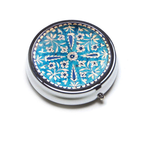 PILL BOX ROUND - Blue pottery