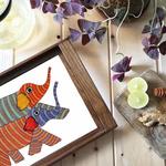 Gond Elephant - Teak wood Tray