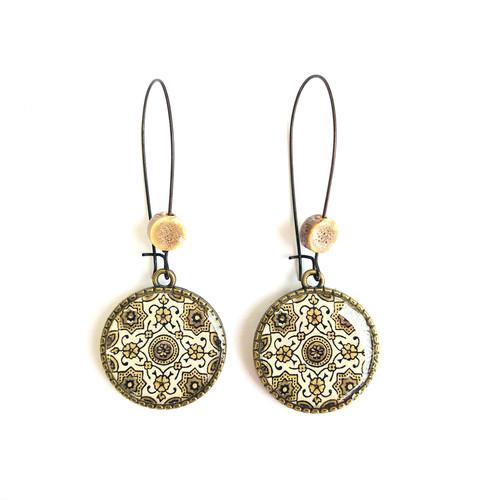 25 mm LOOP EARRINGS  with ceramic bead - Ajrakh - Block Print {Brown}