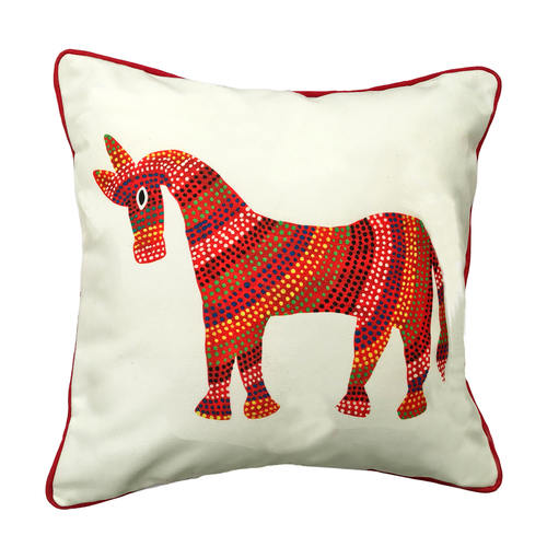 Art Cushion Cover 12 x 12 - Bhil Horse Red