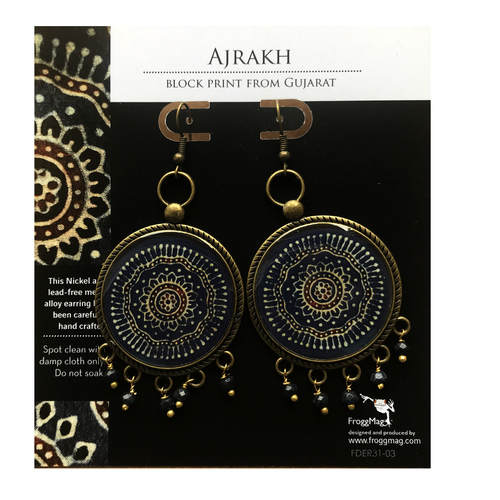 32 mm Metal Alloy with semiprecious stones - Ajrakh