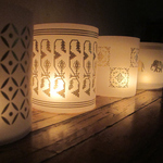TEA LIGHT COVERS - Gold textile