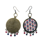 Earrings with semiprecious stones - Mughal Motif  32 mm
