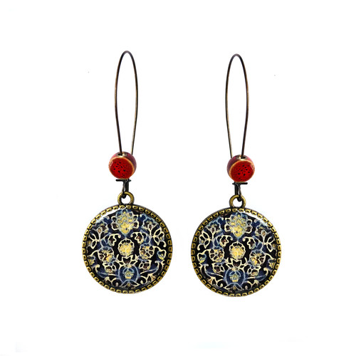 25 mm LOOP EARRINGS  with ceramic bead - Ajrakh - Block Print {Blue}