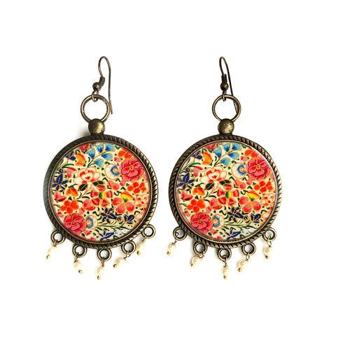 Earrings with pearl beads - Papeir Mâché Naqashi