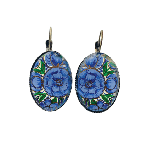 Oval, Lever back earrings -  Naqashi, Kashmir Gul Andar Gul