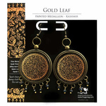 Earrings with semiprecious stones - Gold Leaf  32 mm