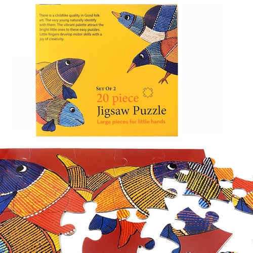 JIGSAW PUZZLE 20 PC - Bird and fish (Gond)