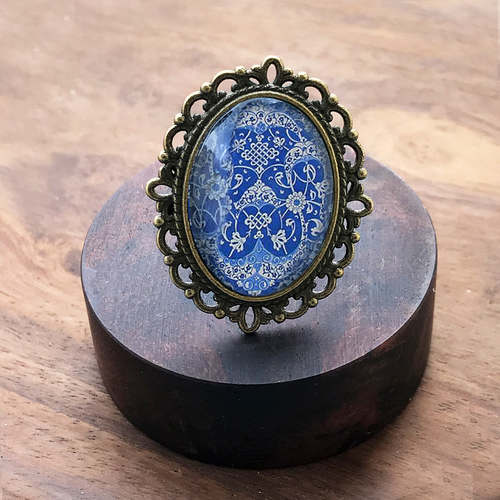 Adjustable Oval Ring - Persian Blue