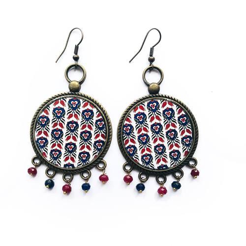 Earrings with semiprecious stones - Mughal Motif  32 mm