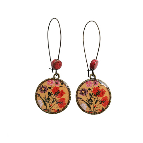 25 mm LOOP EARRINGS  with ceramic bead - Mughal Flowers