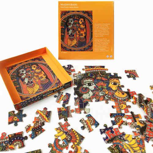 JIGSAW PUZZLE 63 PC - Madhubani Radha Krishna