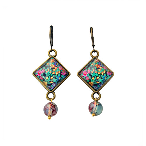 Hanging Earrings with Bead - Naqashi - Kashmir
