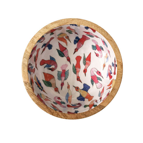 Wooden Bowl - Gond Birds