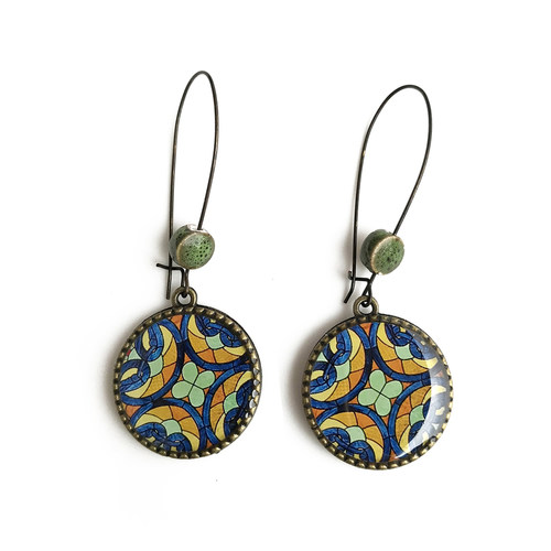 25 mm LOOP EARRINGS  with ceramic bead - Stained glass - CST, Mumbai