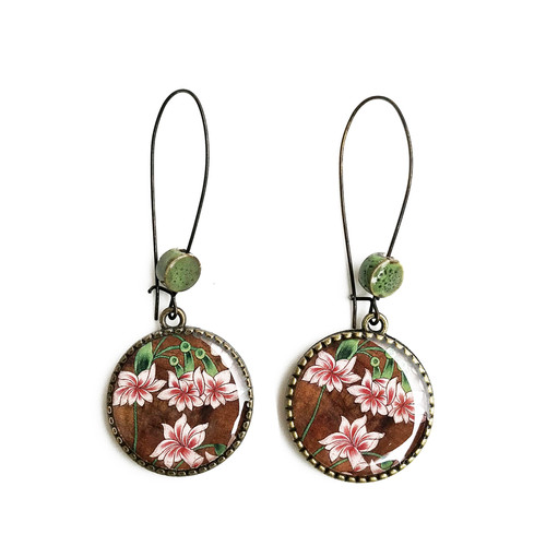 25 mm LOOP EARRINGS  with ceramic bead - Rajasthani Miniature